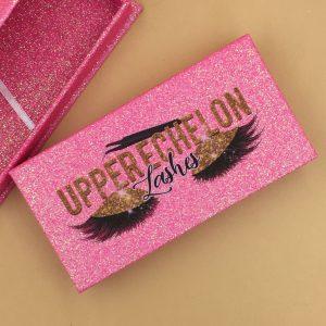 Pink Glitter Custom Eyelash Packaging Boxes