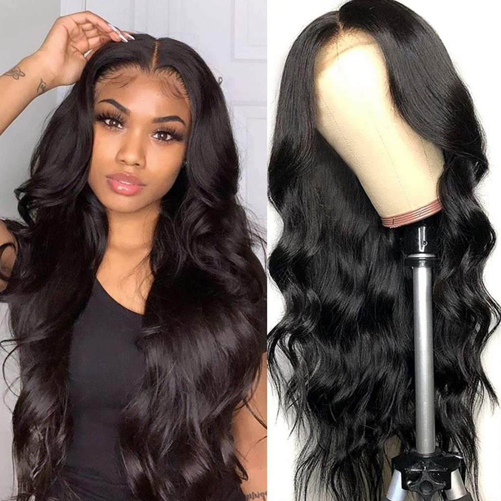 Amazon.com Human Hair Lace Front Wigs Body Wave, 16 Inch Human Hair Lace Wigs, 130%