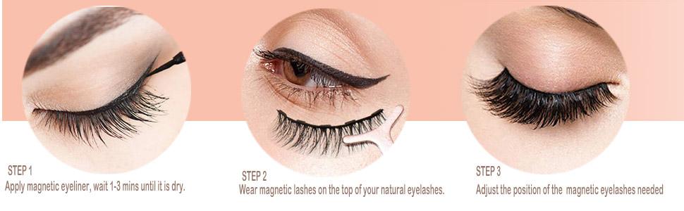 how to apply the false eyelashes
